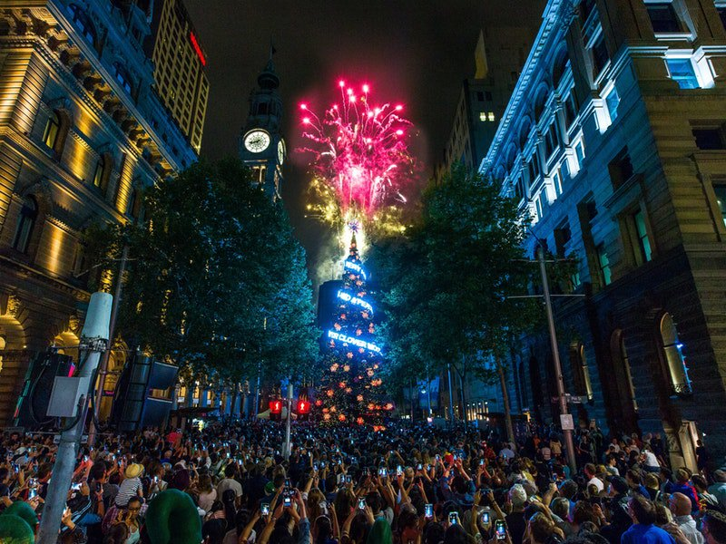 Christmas tree and lights at Martin Place